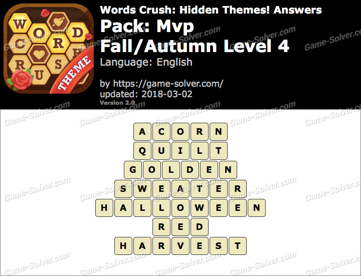 Words Crush Mvp-Fall Autumn Level 4 Answers