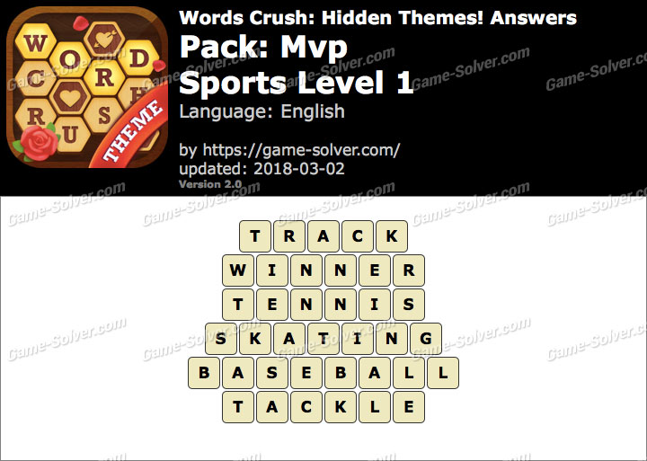 Words Crush Mvp-Sports Level 1 Answers
