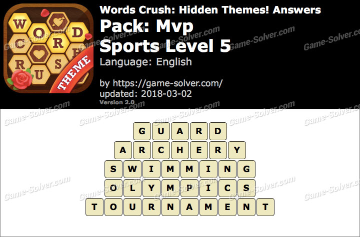 Words Crush Mvp-Sports Level 5 Answers