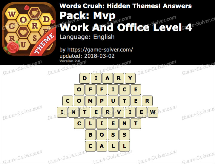 Words Crush Mvp-Work And Office Level 4 Answers