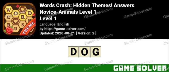 Words Crush Novice-Animals Level 1 Answers