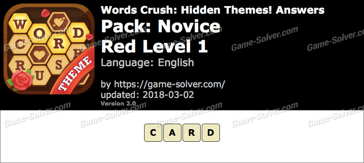 Words Crush Novice-Red Level 1 Answers