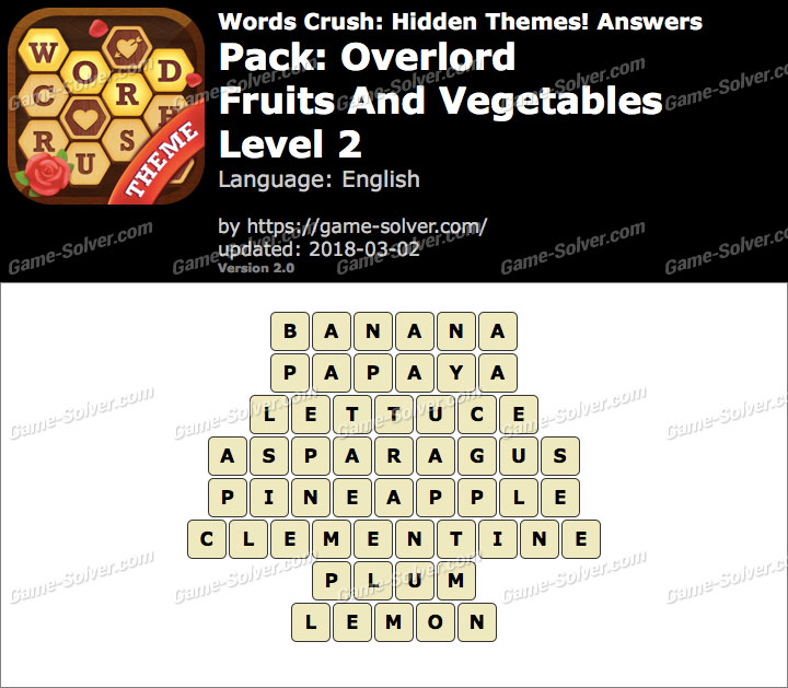Words Crush Overlord-Fruits And Vegetables Level 2 Answers