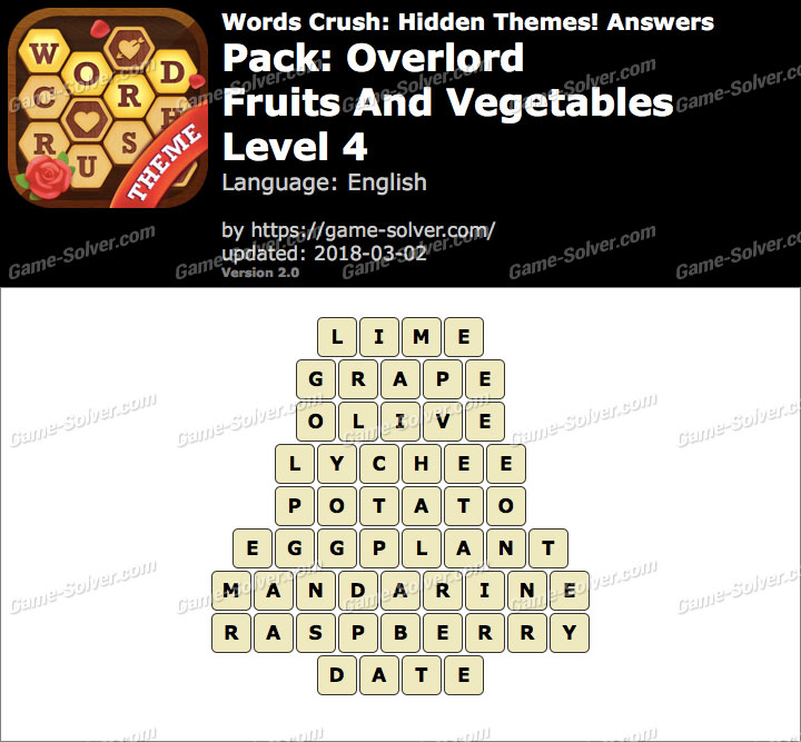 Words Crush Overlord-Fruits And Vegetables Level 4 Answers