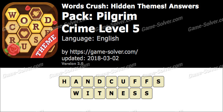 Words Crush Pilgrim-Crime Level 5 Answers