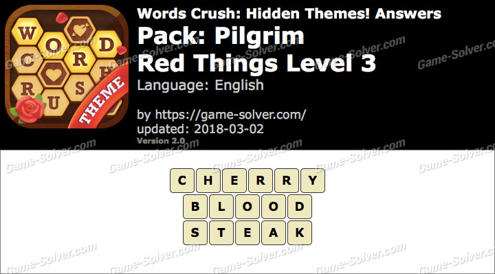 Words Crush Pilgrim-Red Things Level 3 Answers