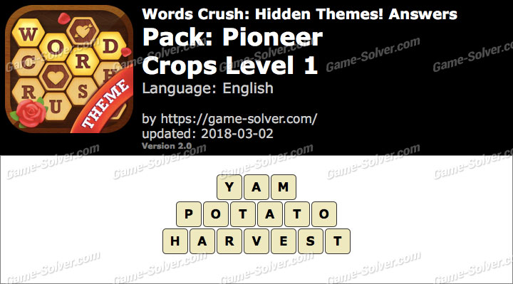 Words Crush Pioneer-Crops Level 1 Answers
