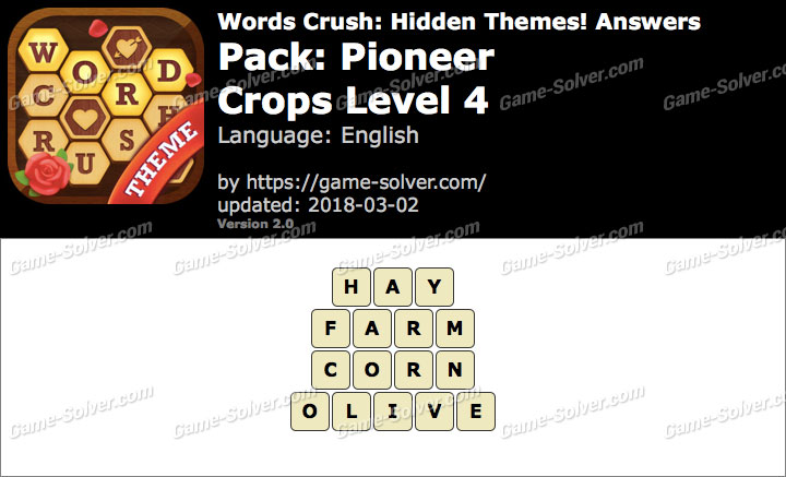 Words Crush Pioneer-Crops Level 4 Answers