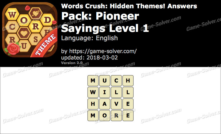 Words Crush Pioneer-Sayings Level 1 Answers