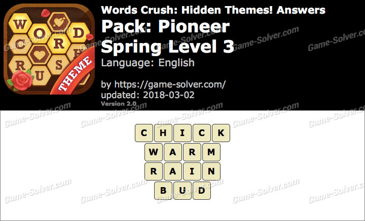 Words Crush Pioneer-Spring Level 3 Answers