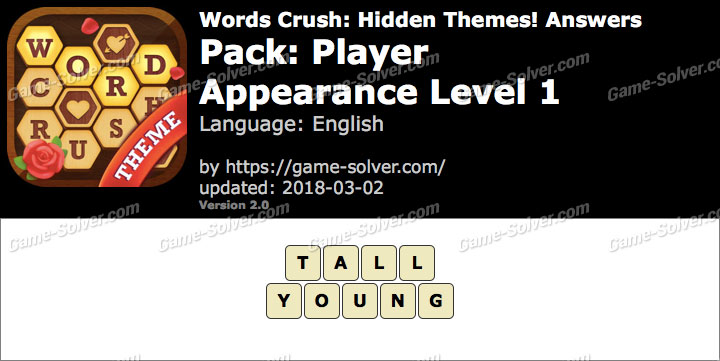 Words Crush Player-Appearance Level 1 Answers