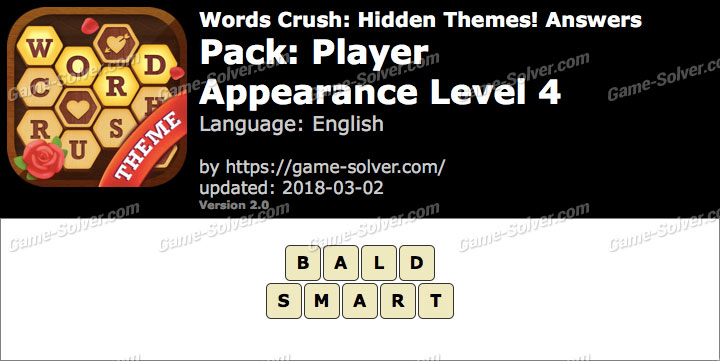 Words Crush Player-Appearance Level 4 Answers