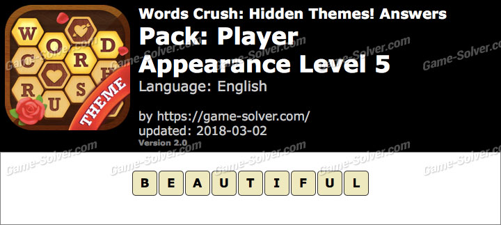 Words Crush Player-Appearance Level 5 Answers