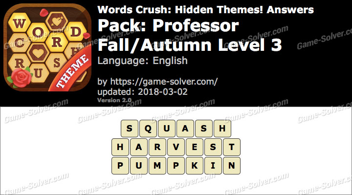 Words Crush Professor-Fall Autumn Level 3 Answers