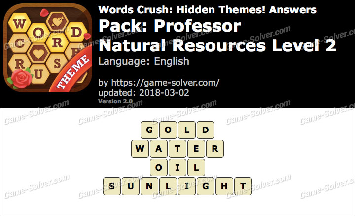 Words Crush Professor-Natural Resources Level 2 Answers