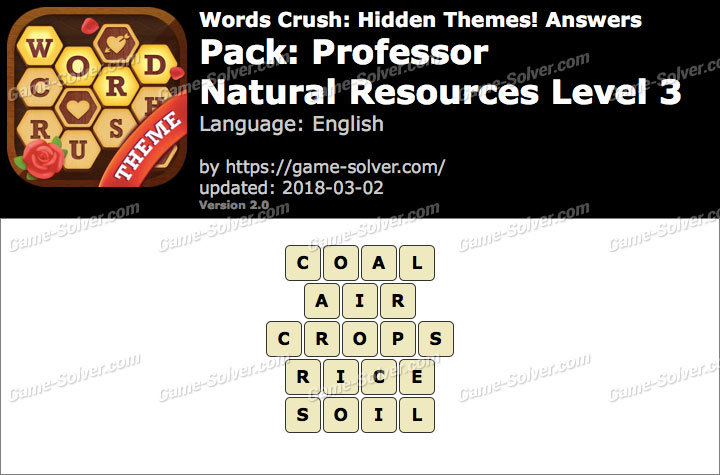 Words Crush Professor-Natural Resources Level 3 Answers