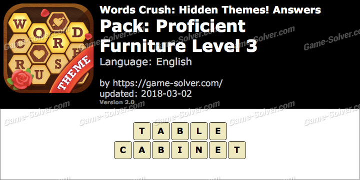 Words Crush Proficient-Furniture Level 3 Answers