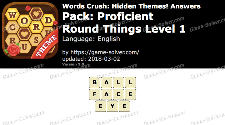 Words Crush Proficient-Round Things Level 1 Answers