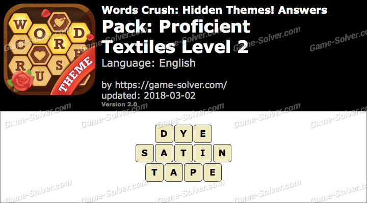 Words Crush Proficient-Textiles Level 2 Answers