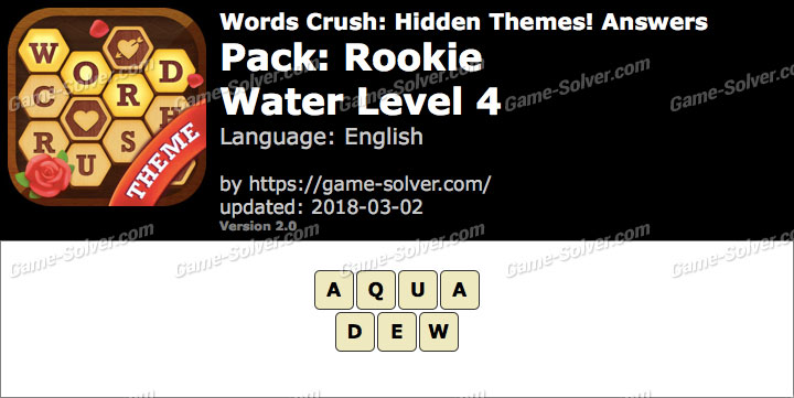 Words Crush Rookie-Water Level 4 Answers
