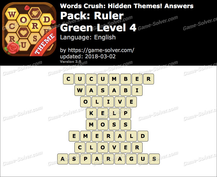 Words Crush Ruler-Green Level 4 Answers