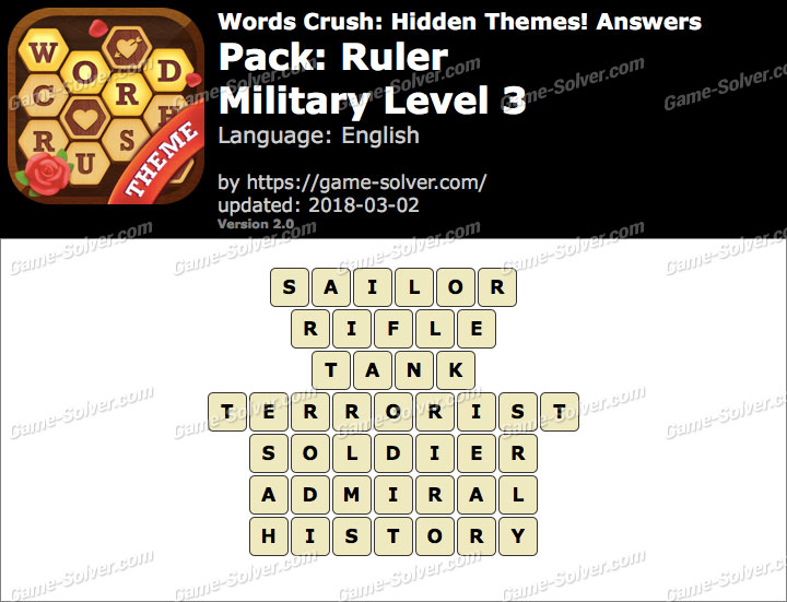 Words Crush Ruler-Military Level 3 Answers