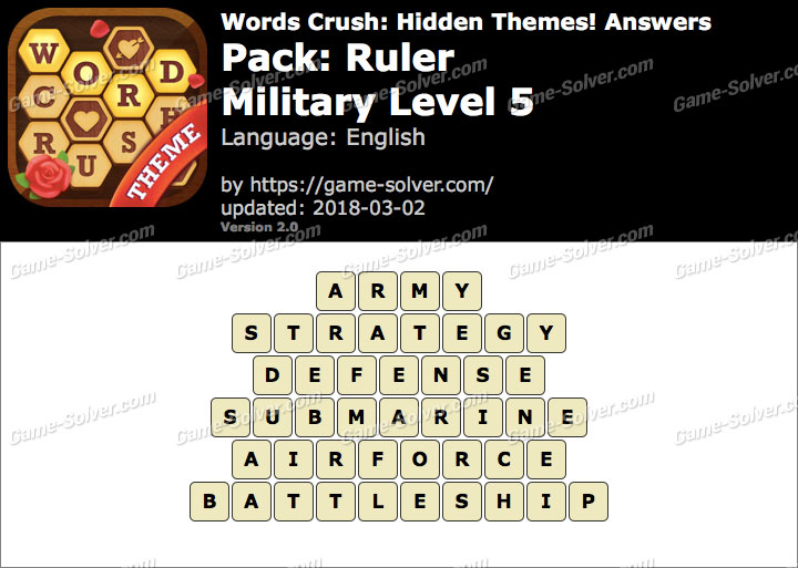 Words Crush Ruler-Military Level 5 Answers