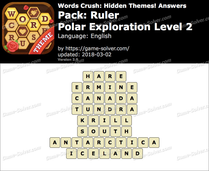 Words Crush Ruler-Polar Exploration Level 2 Answers