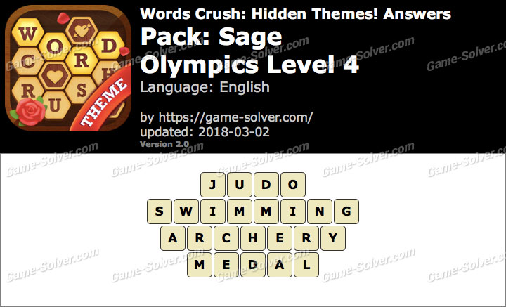 Words Crush Sage-Olympics Level 4 Answers