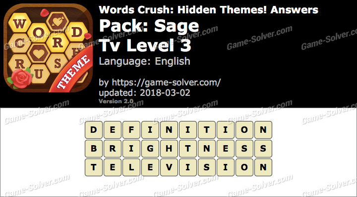 Words Crush Sage-Tv Level 3 Answers
