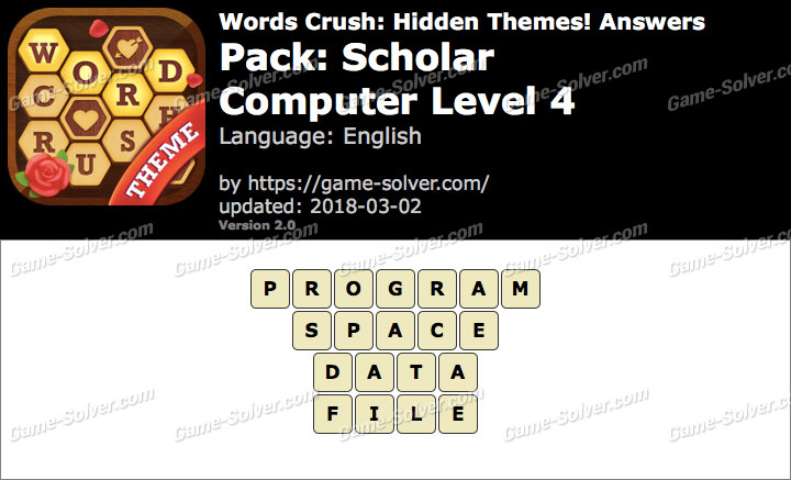 Words Crush Scholar-Computer Level 4 Answers