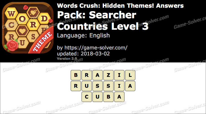 Words Crush Searcher-Countries Level 3 Answers
