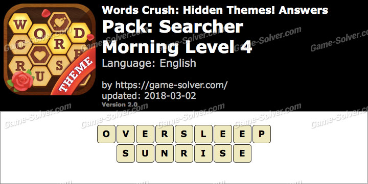 Words Crush Searcher-Morning Level 4 Answers