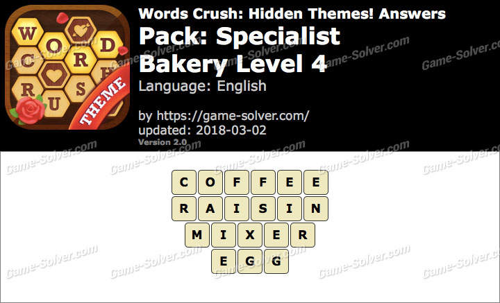 Words Crush Specialist-Bakery Level 4 Answers