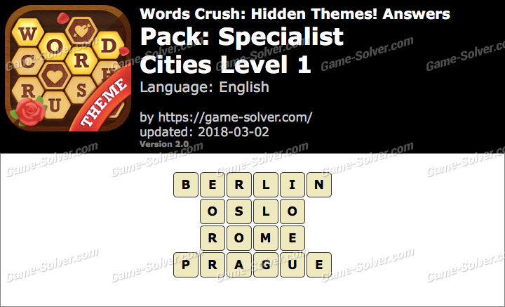 Words Crush Specialist-Cities Level 1 Answers