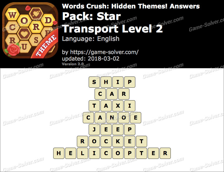 Words Crush Star-Transport Level 2 Answers