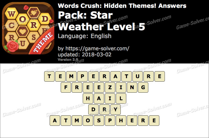 Words Crush Star-Weather Level 5 Answers