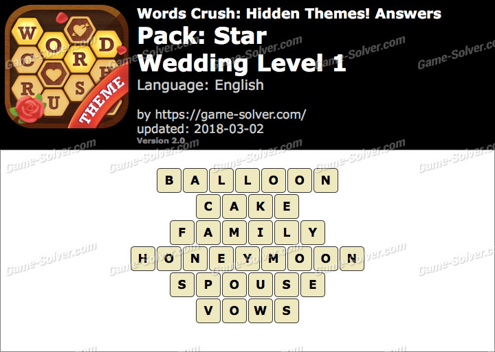 Words Crush Star-Wedding Level 1 Answers