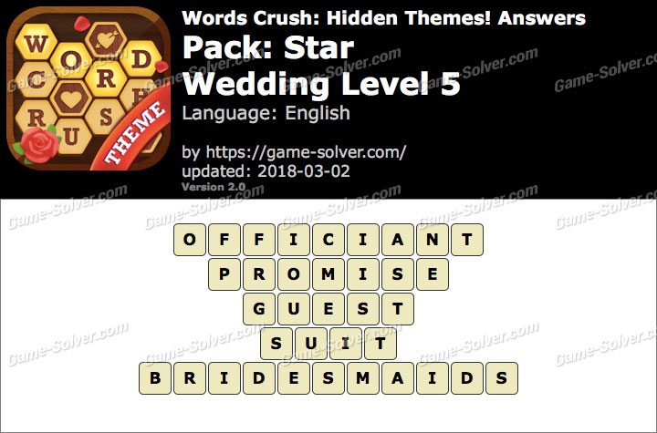 Words Crush Star-Wedding Level 5 Answers