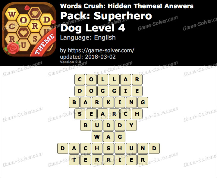 Words Crush Superhero-Dog Level 4 Answers