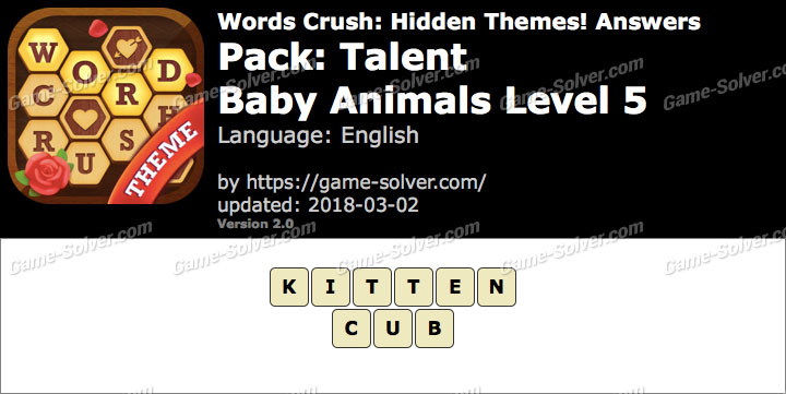 Words Crush Talent-Baby Animals Level 5 Answers