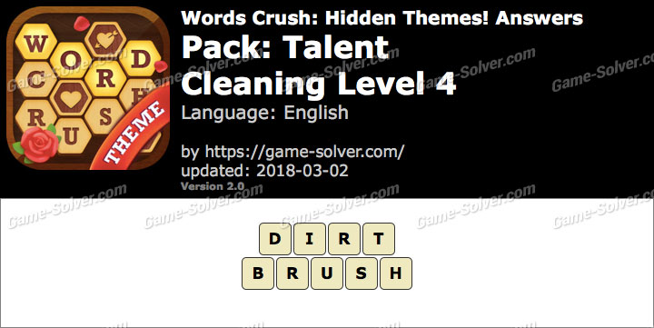 Words Crush Talent-Cleaning Level 4 Answers