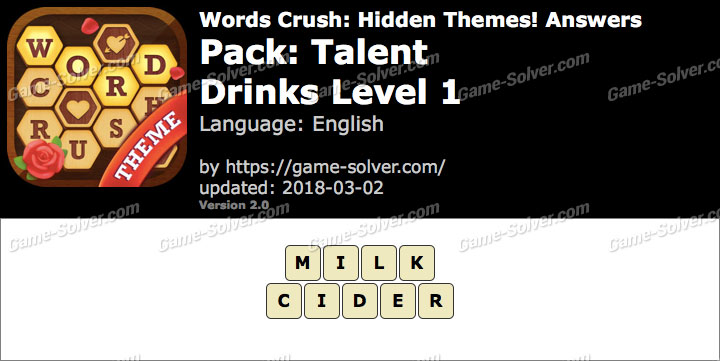 Words Crush Talent-Drinks Level 1 Answers