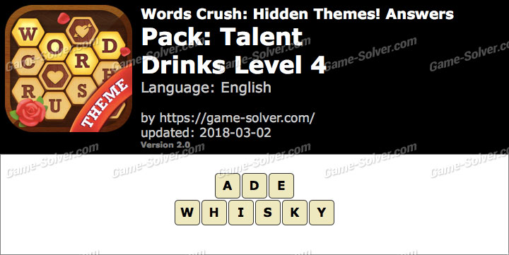 Words Crush Talent-Drinks Level 4 Answers