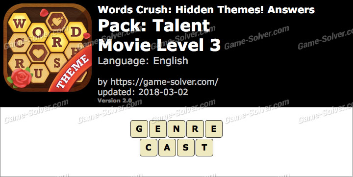 Words Crush Talent-Movie Level 3 Answers
