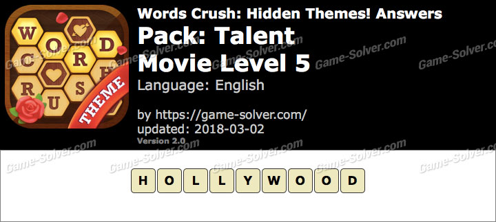 Words Crush Talent-Movie Level 5 Answers