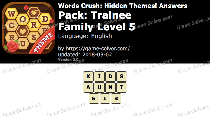 Words Crush Trainee-Family Level 5 Answers
