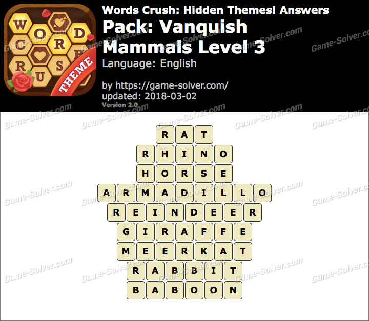 Words Crush Vanquish-Mammals Level 3 Answers