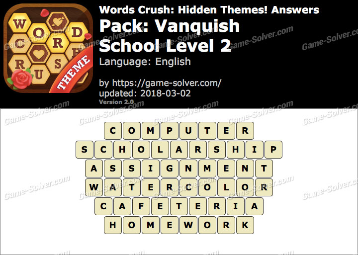 Words Crush Vanquish-School Level 2 Answers