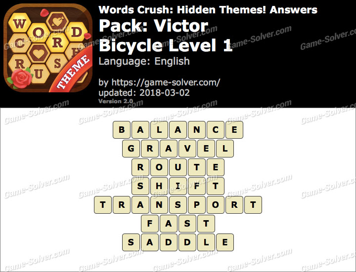 Words Crush Victor-Bicycle Level 1 Answers